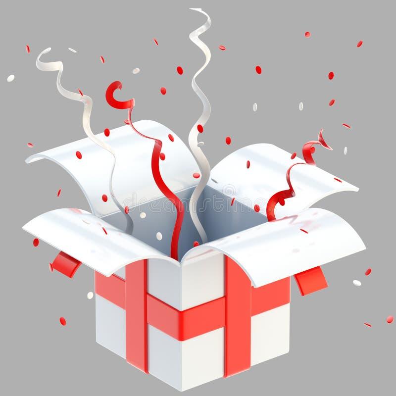 Cadre de cadeau avec la bande, confettis d'isolement illustration stock