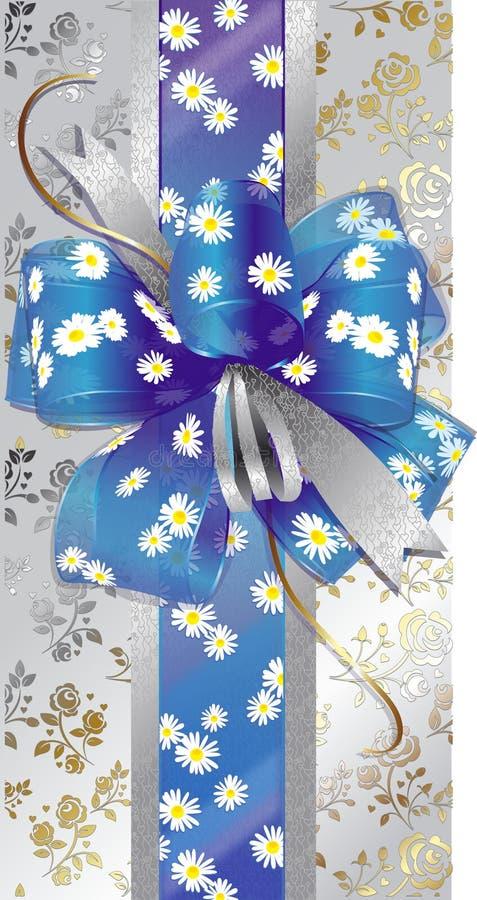 Cadre de cadeau avec une proue bleue photos stock