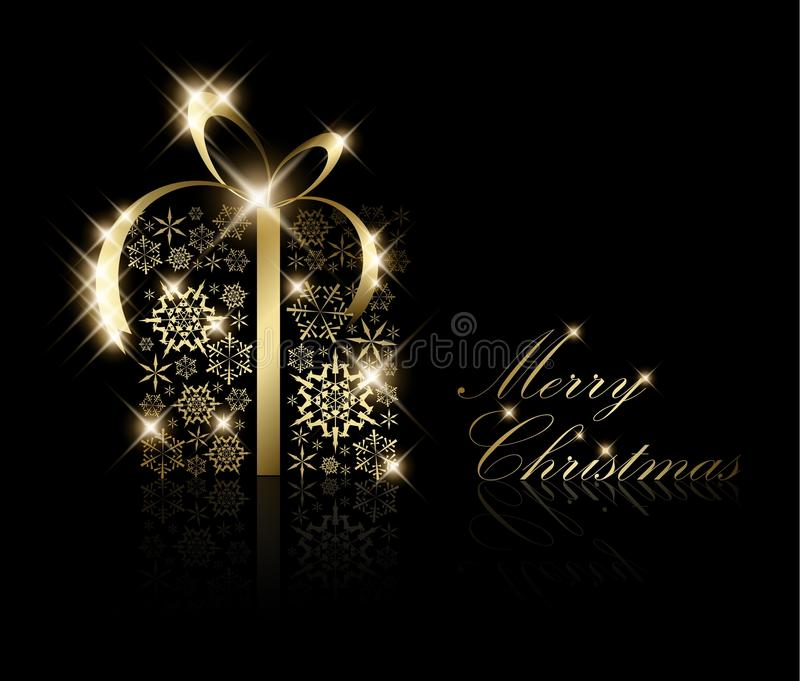 Cadre de cadeau de Noël effectué à partir des flocons de neige d'or illustration libre de droits
