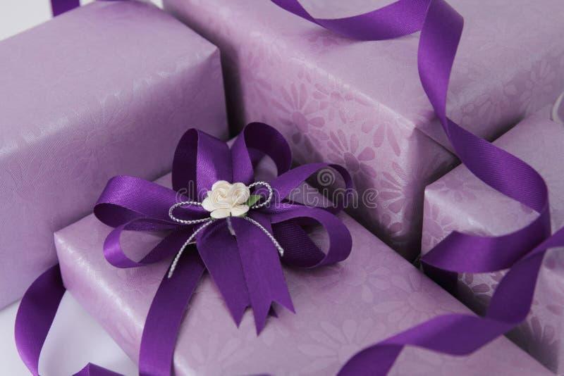 Cadre de cadeau pourpré. photo stock