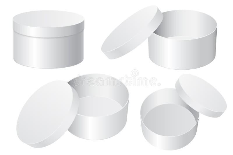 Cadre de cadeau rond Blanc blanc ouvert et récipients fermés illustration stock