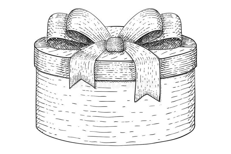 Cadre de cadeau rond Croquis tiré par la main illustration libre de droits