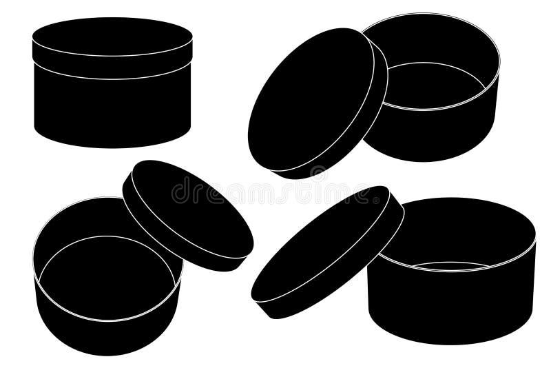 Cadre de cadeau rond Ensemble ouvert et fermé Dessin de noir mat illustration libre de droits