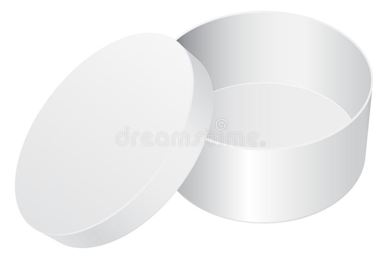 Cadre de cadeau rond Paquet ouvert de blanc blanc illustration de vecteur