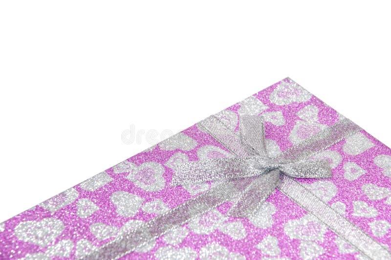 Cadre de cadeau rose avec la proue photos libres de droits