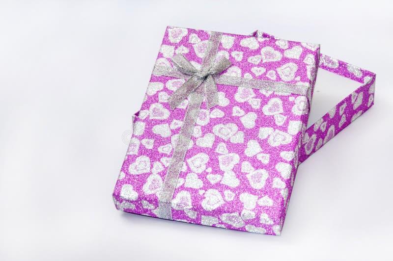 Cadre de cadeau rose avec la proue image stock