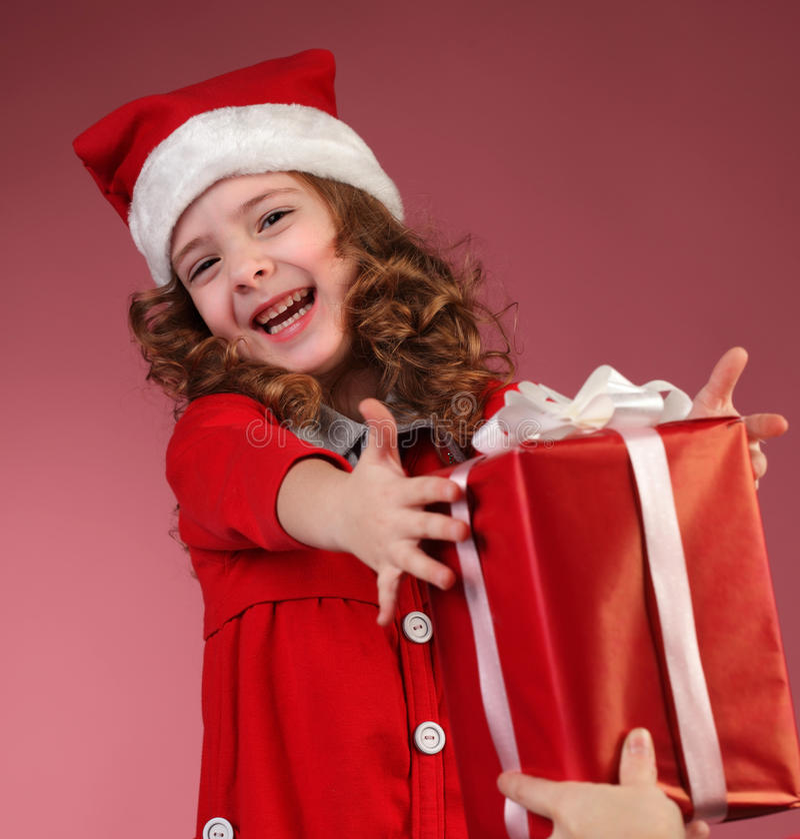 Cadre de cadeau rouge ouvert de fille images libres de droits