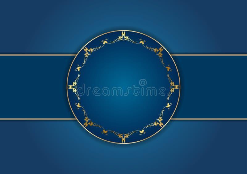 Cadre de calibre de carte de style, bleu et d'or, floral occidental illustration de vecteur