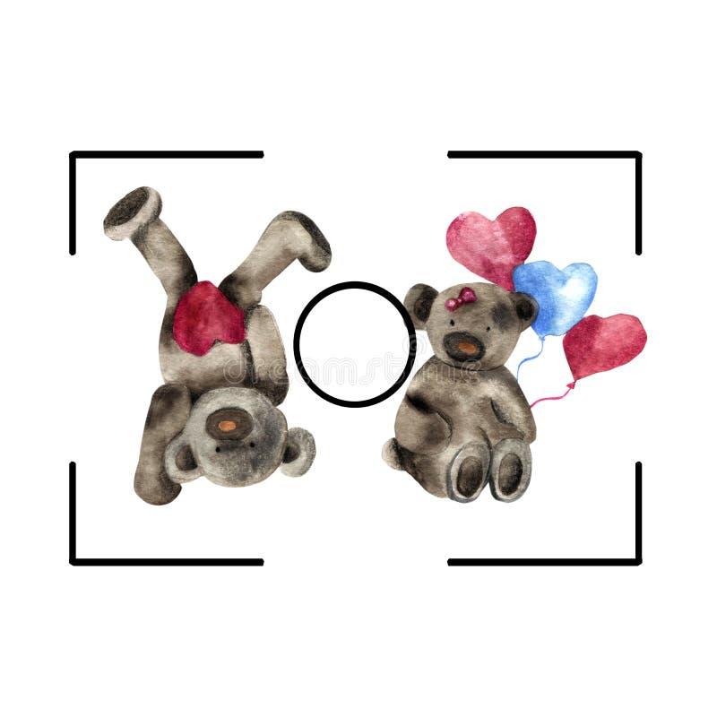 Cadre de caméra pour la Saint Valentin deux ours dansent illustration libre de droits