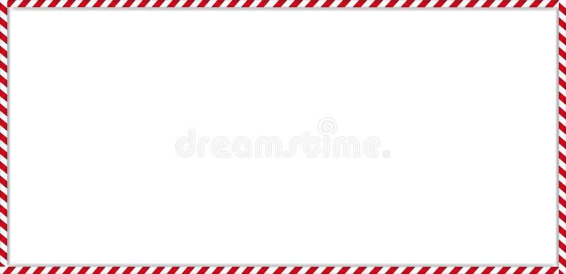 Cadre de canne de sucrerie de rectangle avec le modèle rayé rouge et blanc de lucette sur le fond blanc illustration stock