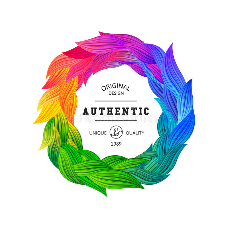 Cadre de cercle avec les plumes colorées par arc-en-ciel d'amusement illustration libre de droits