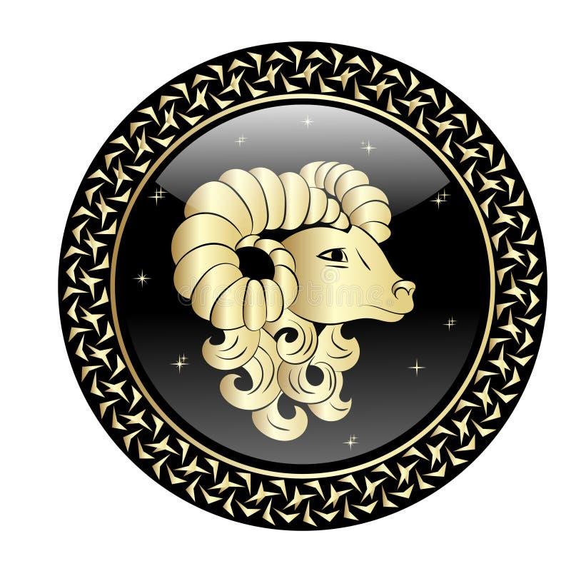 Cadre de cercle de connexion de zodiaque de Bélier illustration de vecteur