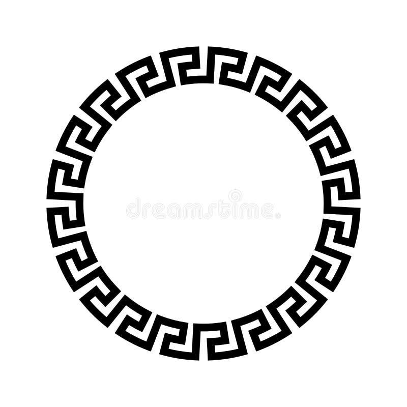 Cadre de cercle de modèle grec simple Illustration noire de vecteur illustration libre de droits