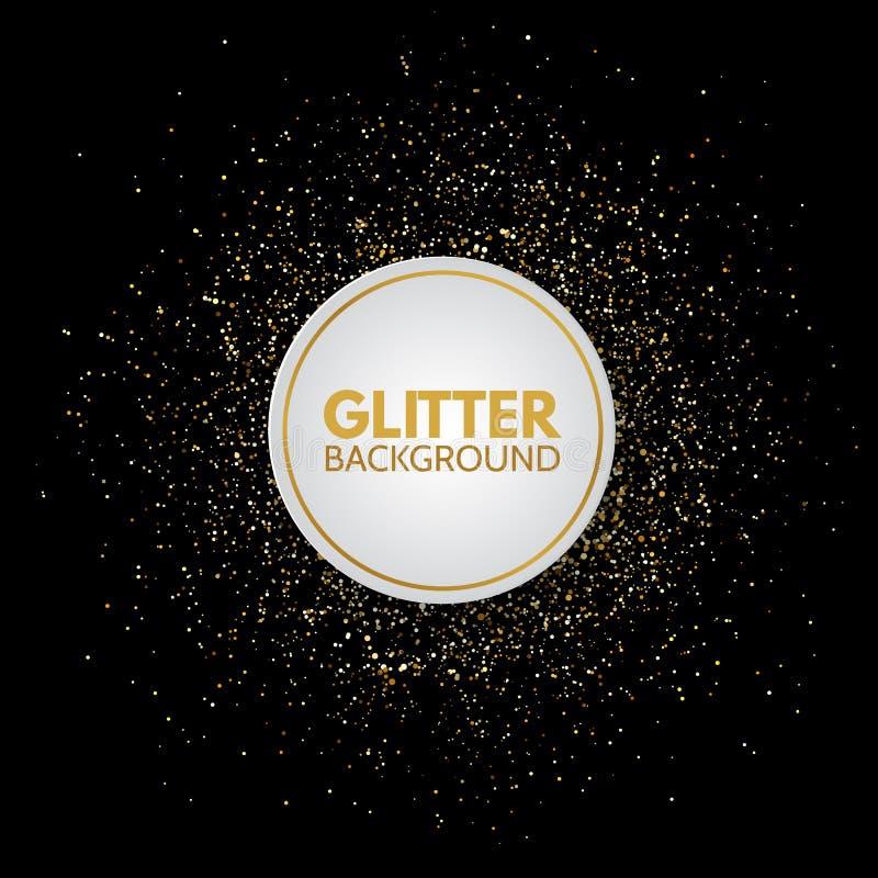 Cadre de cercle de scintillement avec l'espace pour le texte Fond d'or de fête d'étincelle Bannière lumineuse de cercle de Noël C illustration stock