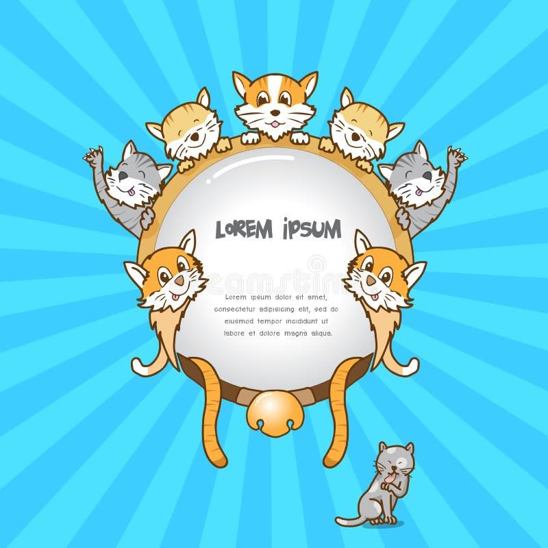 Cadre de chat sur le fond de couleur, chat mignon image stock