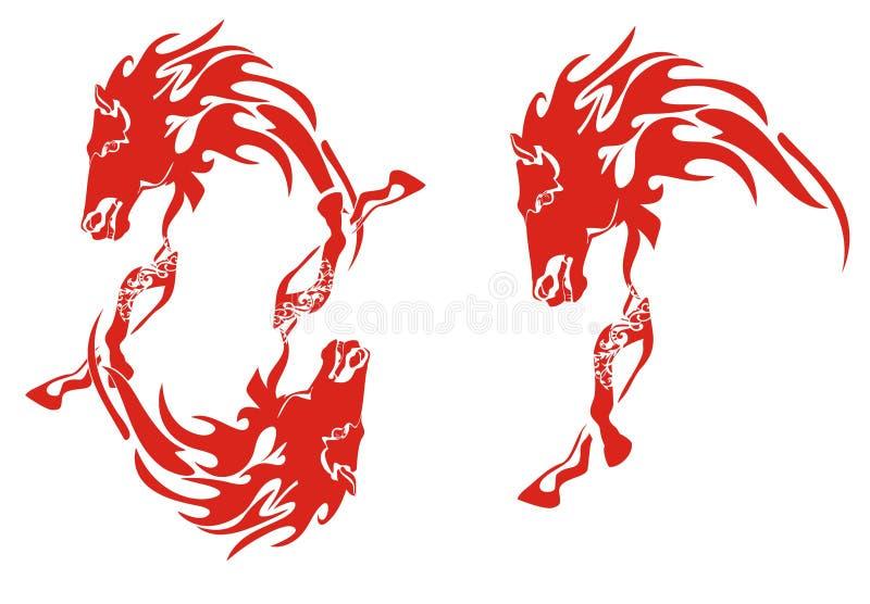 Cadre de cheval et un cheval flamboyant rouge illustration stock
