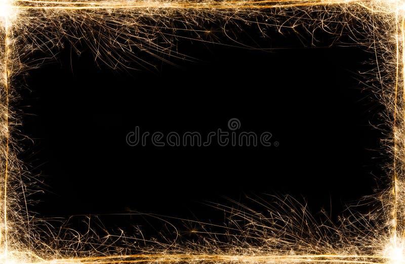 Cadre de cierges magiques de partie de nouvelle année sur le fond noir image stock