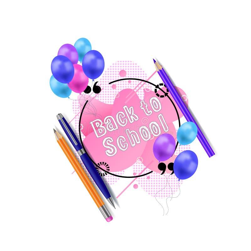 Cadre de citation de cercle de vecteur avec les ballons colorés, le crayon, le crayon coloré et le stylo, contexte géométrique fo illustration libre de droits