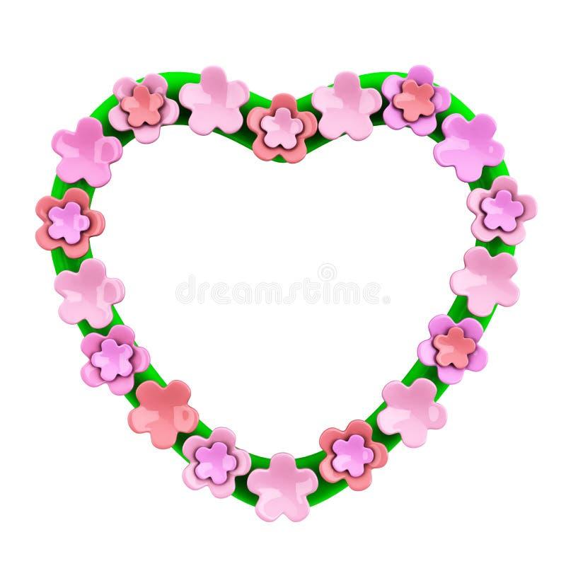 Cadre de coeur avec les fleurs roses, 3d illustration stock