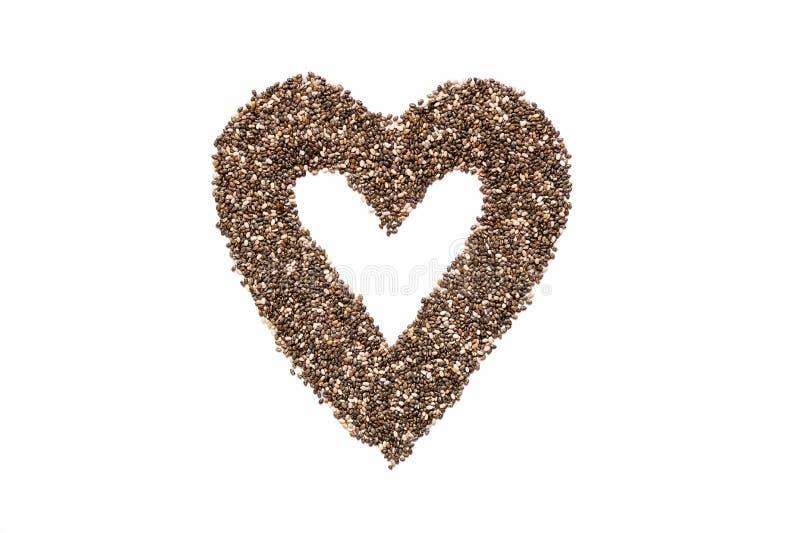 Cadre de coeur des graines de Chia Nourriture superbe photo libre de droits