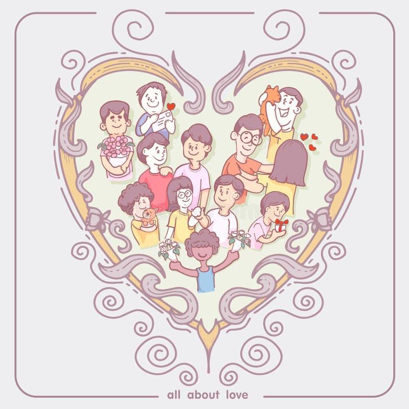Cadre de coeur et caractère, tirés par la main, forme de coeurs Éléments de conception de jour du ` s de Valentine vecteur et gri illustration libre de droits