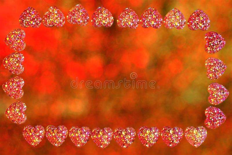 Cadre de coeurs de Saint-Valentin, bokeh de fond de lumières Vue pour des images de vacances ou texte important, lumières colorée photos stock