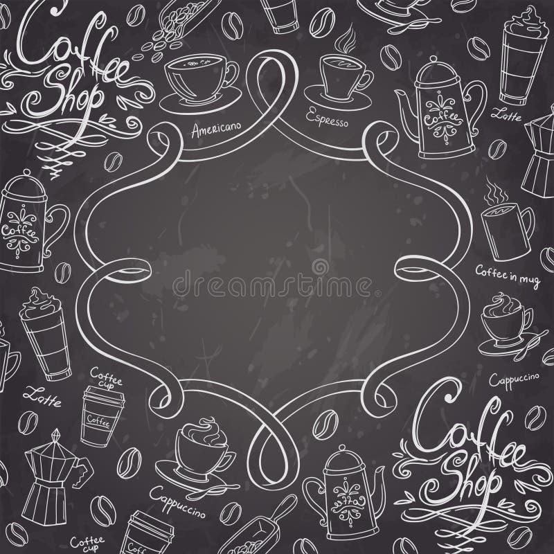 Cadre de conception de café Fond stylisé de café de tableau illustration de vecteur