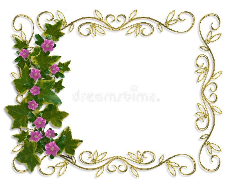 Cadre de conception florale de lierre avec la trame d'or illustration libre de droits