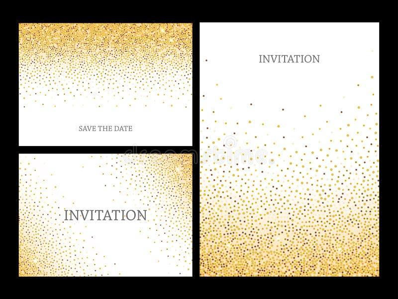 Cadre de confettis de scintillement d'or pour la carte de voeux de fête illustration libre de droits