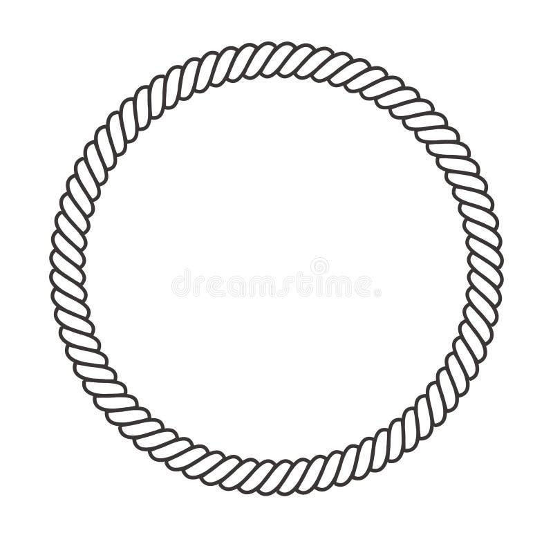 Cadre de corde ronde Cordes de cercle, fronti?re arrondie et cercles marins d?coratifs de cadre de c?ble Timbre de noeud de corda illustration stock