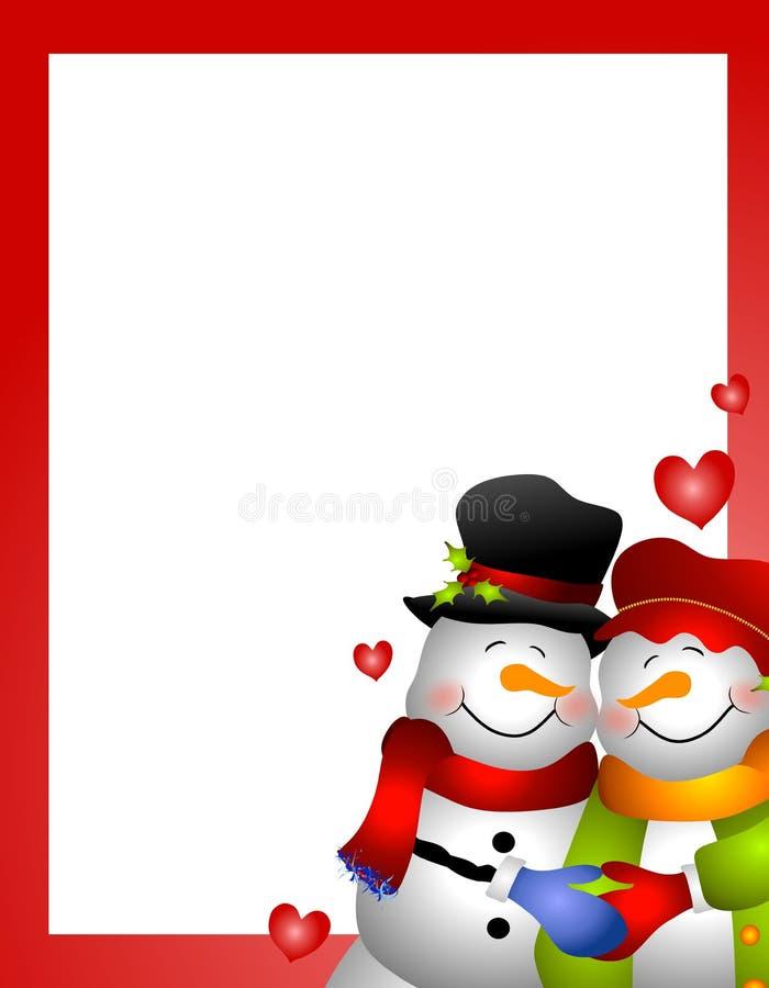 Cadre de couples de femme de neige de bonhomme de neige