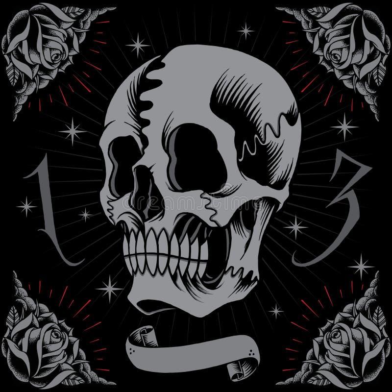 Cadre de crâne et de roses illustration de vecteur