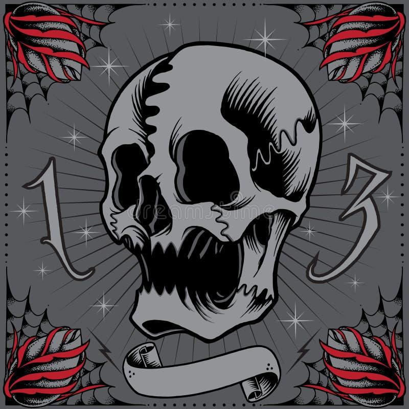 Cadre de crâne et de roses illustration libre de droits