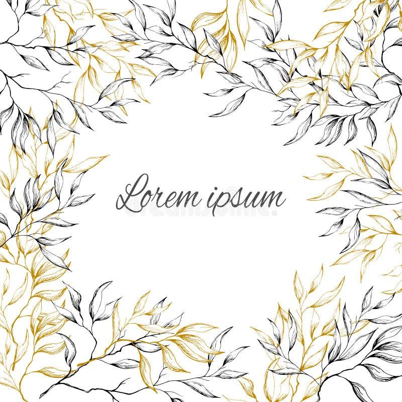 Cadre de cru pour le texte, carte postale avec le feuillage dans des tons d'or argentés Croquis, plantes d'ombrage, fleurs illustration stock