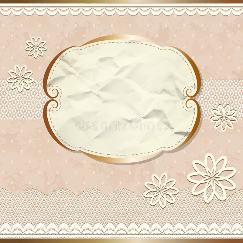 Cadre de dentelle de cru avec des fleurs illustration libre de droits