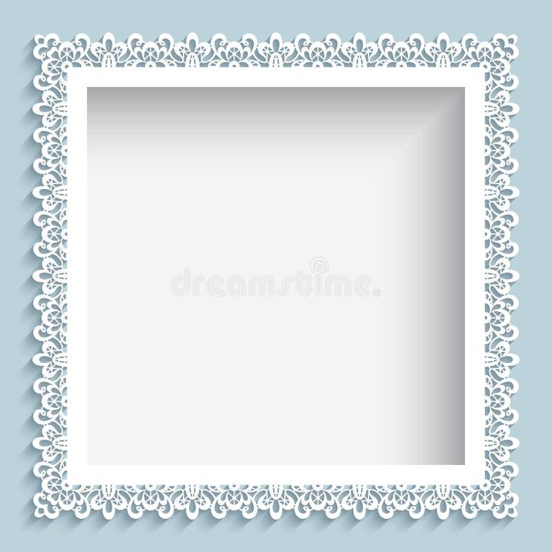 Cadre de dentelle de papier carré illustration de vecteur