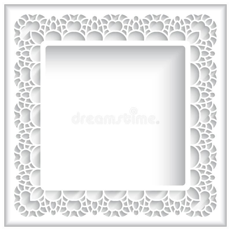 Cadre de dentelle de papier carré illustration stock