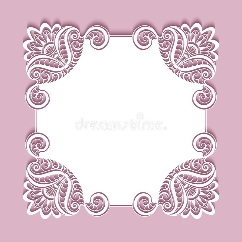 Cadre de dentelle de papier carré illustration libre de droits