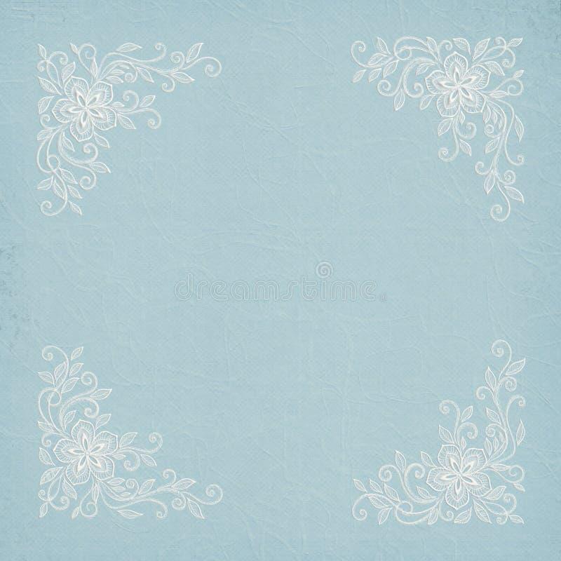 Cadre de dentelle faisante le coin sur le papier bleu illustration stock