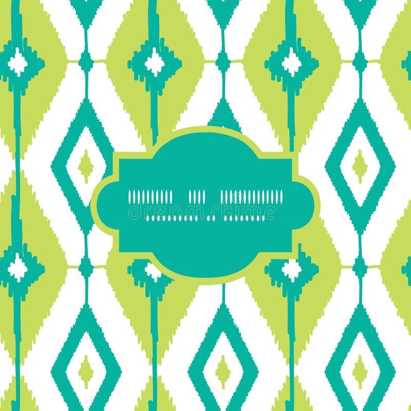 Cadre de diamants d'ikat de vert vert sans couture illustration stock