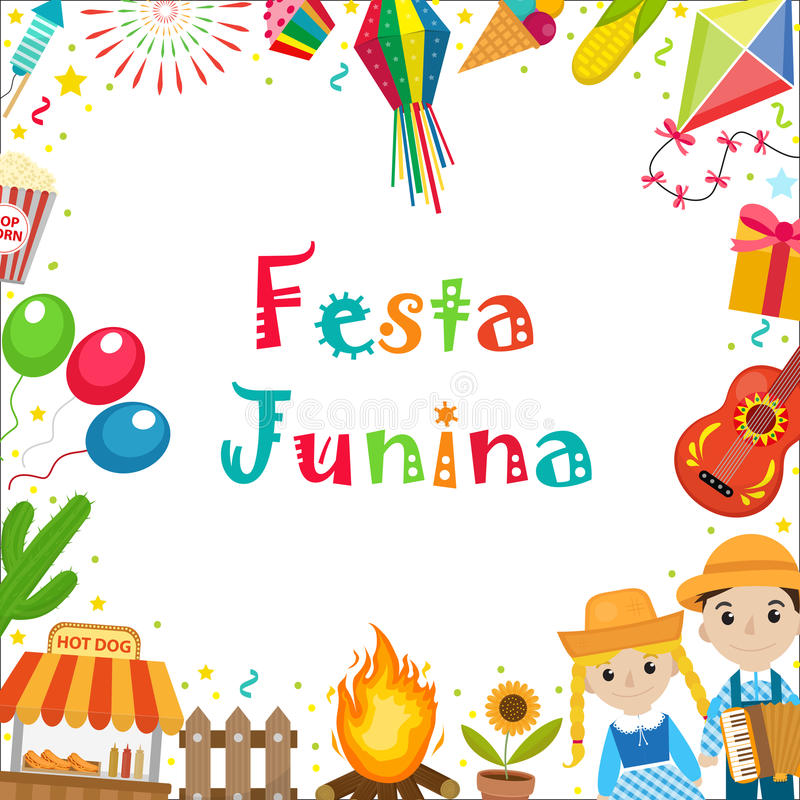Cadre de Festa Junina avec l'espace pour le texte Calibre latino-américain brésilien de blanc de festival pour votre conception a illustration libre de droits