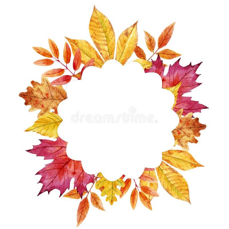 Cadre de feuilles d'automne d'aquarelle illustration stock