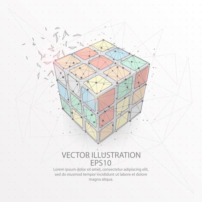 Cadre de fil de forme du cube de Rubik bas poly sur le fond blanc illustration stock