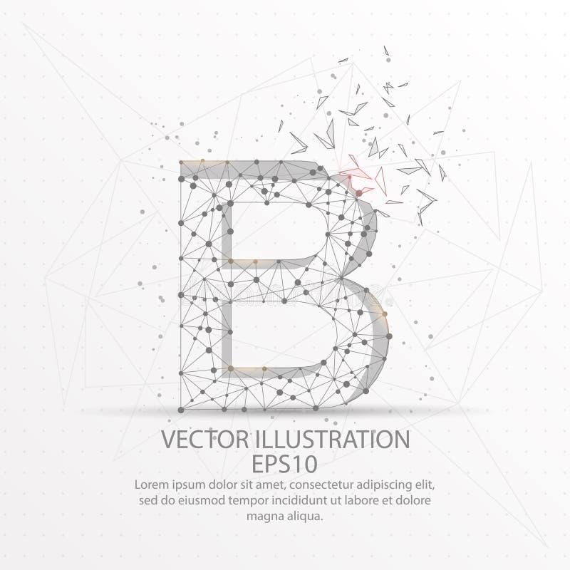 Cadre de fil de forme de la lettre B bas poly sur le fond blanc illustration stock