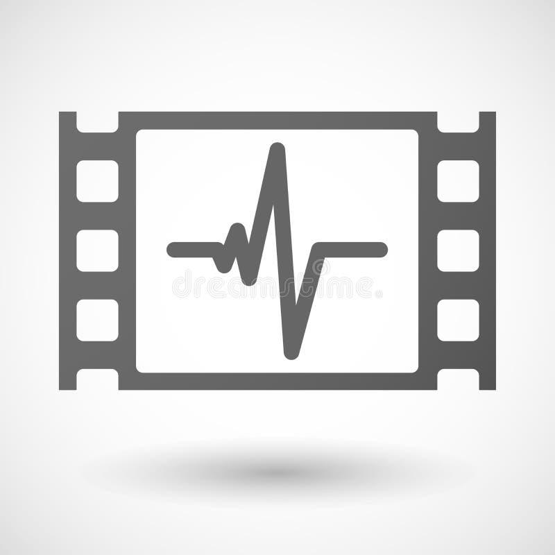 cadre de film de 35mm avec un signe de battement de coeur illustration stock