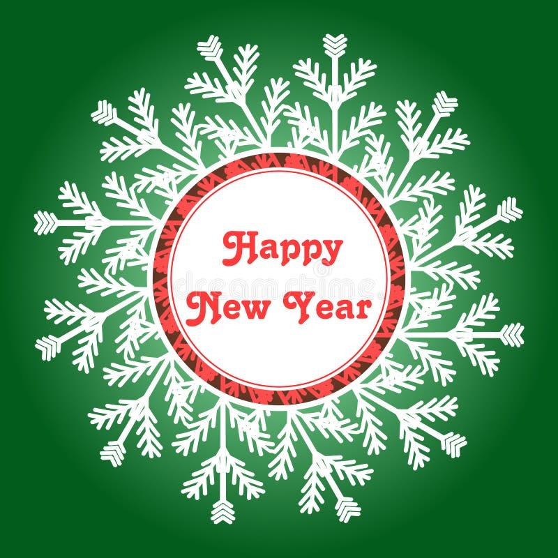 Cadre de flocon de neige Carte d'an neuf heureux Illustration de vecteur images libres de droits