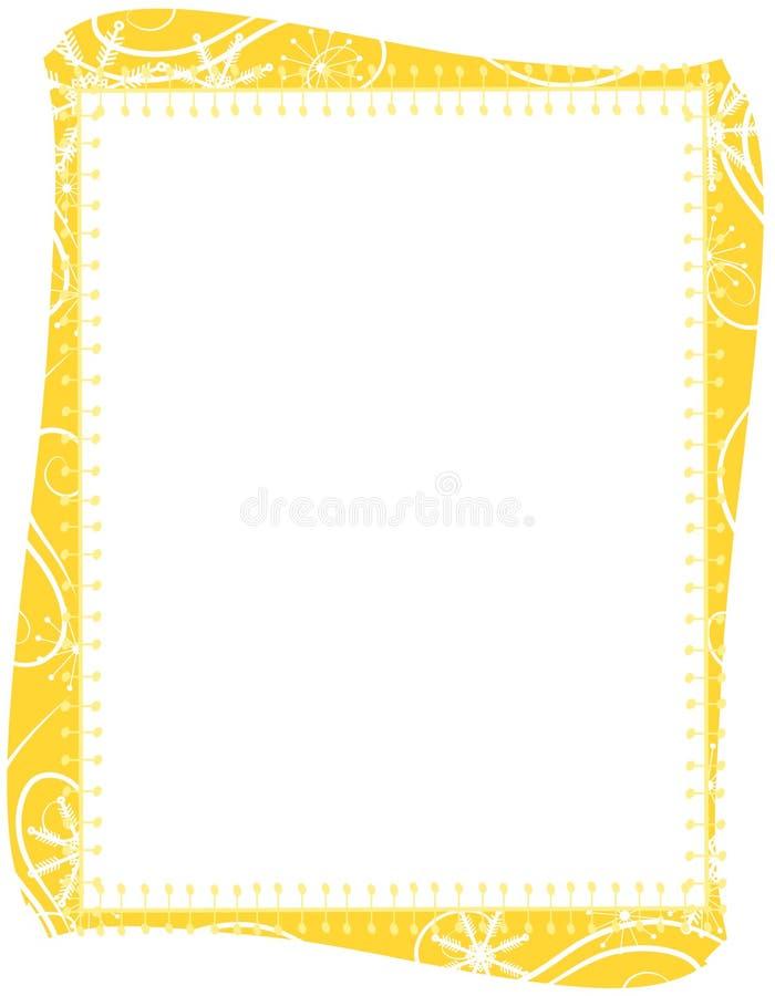 Cadre de flocons de neige de Noël d'or illustration libre de droits