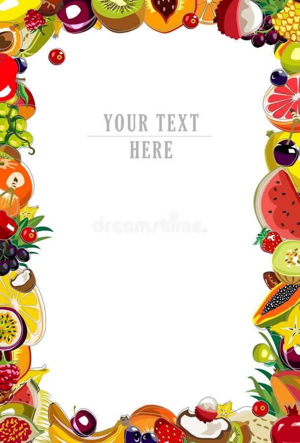 Cadre de fond de fruits illustration de vecteur