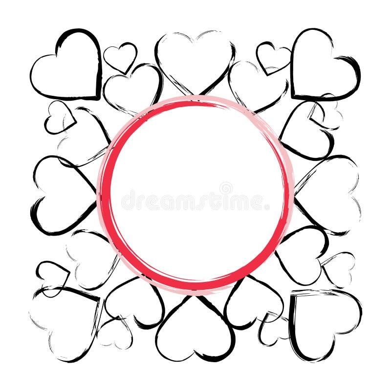 Cadre de fond de vecteur avec des coeurs illustration stock