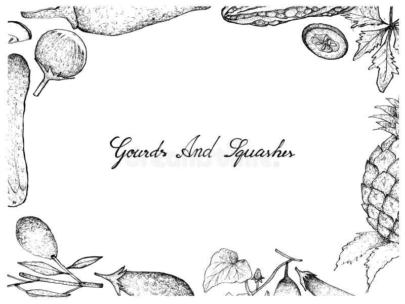 Cadre de fruits de courge et de courge illustration libre de droits